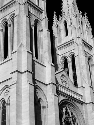 Photograph - The Heights Of The Cathedral Basilica Of The Immaculate Conception Bw by Angelina Vick