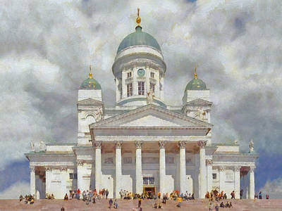 Church Pillars Digital Art - The Helsinki Cathedral by Digital Photographic Arts