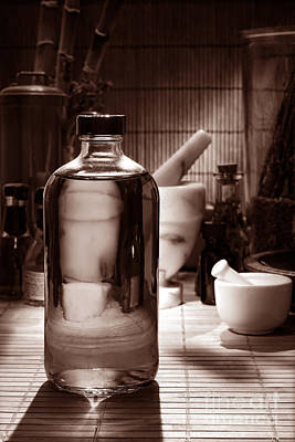 Medicine Bottle Photograph - The Herbal Shop In Sepia by Olivier Le Queinec