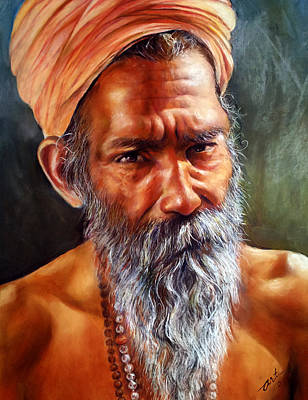 Realistic Pastel Painting - The Hermit by Arti Chauhan
