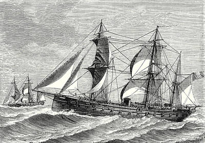 Waving Flag Drawing - The Heroine Armored Frigate Launched In 1864 by English School