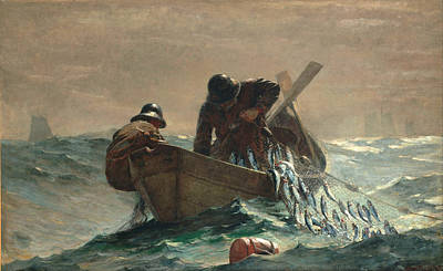 Tiller Digital Art - The Herring Net by Winslow Homer