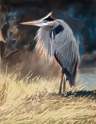 Blue Herron Digital Art - The Herron by Curtis Chapline