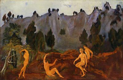Arthur Bowen Davies Painting - The Hesitation Of Orestes by Arthur Bowen Davies