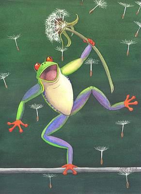 Frogs Painting - The High Wire by Catherine G McElroy