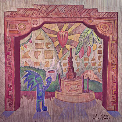 Olmec Drawing - The History Of Chocolate by Ian Smiley