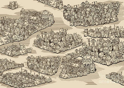 Water Digital Art - The History We Never Had. Map by Ryger