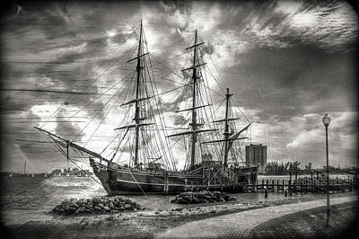 Florida Bridge Photograph - The Hms Bounty In Black And White by Debra and Dave Vanderlaan
