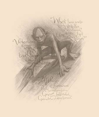 Tolkien Digital Art - The Hobbit - Riddles by Brand A