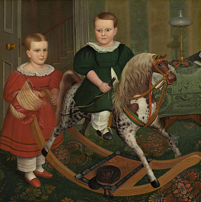 Folk Art Painting - The Hobby Horse by American School