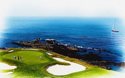Ernie Els Wall Art - Digital Art - The Hole 7 At Pebble Beach Golf Links by Don Kuing