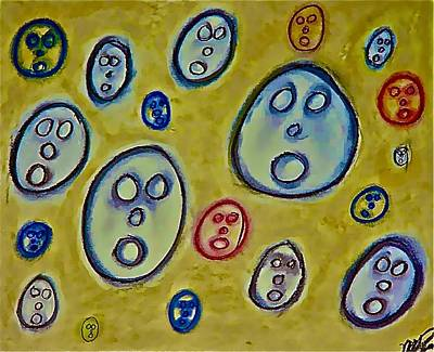 Drawing - The Hollow Men 88 - Faces by Mario Perron