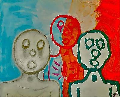 Drawing - The Hollow Men 88 - Study Of Three by Mario MJ Perron