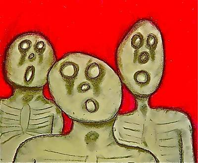 Drawing - The Hollow Men 88 - Three Walkers by Mario MJ Perron