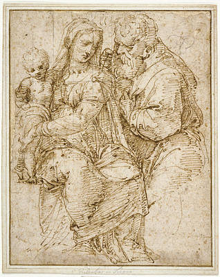 Black Top Drawing - The Holy Family Baldassare Peruzzi, Italian by Litz Collection