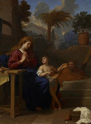 The Holy Family In Egypt Art Print by Charles Le Brun