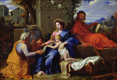 Bed Painting - The Holy Family by Louis Licherie de Beuron