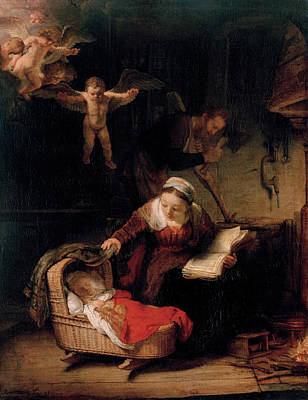 Hermitage Painting - The Holy Family With Angels by Rembrandt van Rijn