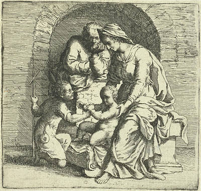 Baptist Drawing - The Holy Family With John The Baptist, Print Maker Willem by Willem Basse And Andrea Del Sarto