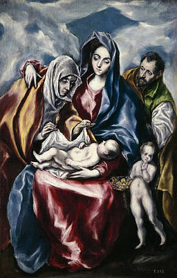Religious Artist Painting - The Holy Family With St. Anne And The Young St. John The Baptist by El Greco