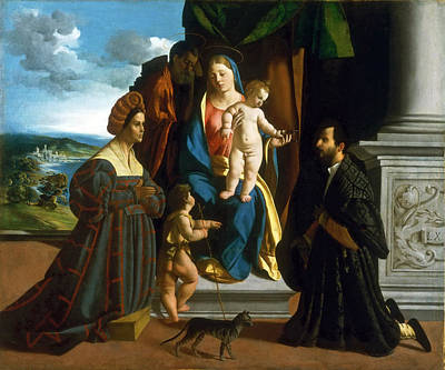 Baptist Painting - The Holy Family With The Young Saint John The Baptist A Cat And Two Donors by Dosso Dossi