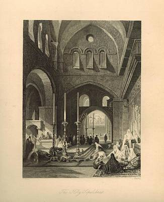The Holy Sepulchre 1886 Engraving With Border Art Print by Antique Engravings