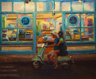 Scooter Painting - The Honeymoon by Jeanne Young