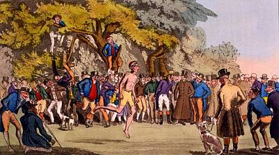 Athletics Drawing - The Hopping Match On Clapham Common by English School