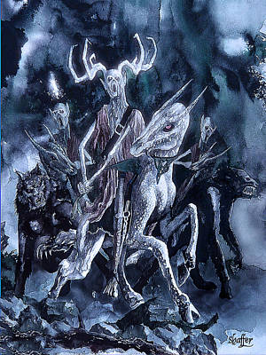 Art Print featuring the painting The Horned King 2 by Curtiss Shaffer