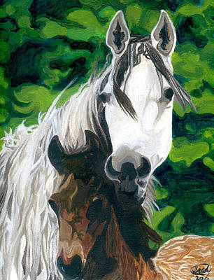 Painting - The Horse And Her Foal by Saad Hasnain