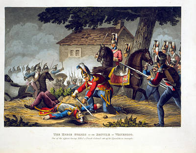 Colonel Wall Art - Drawing - The Horse Guards At The Battle by William Heath