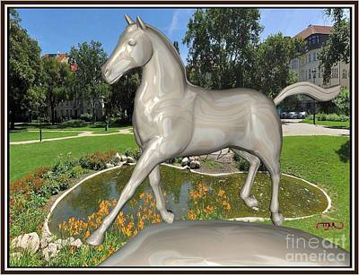 Statue Portrait Digital Art - The Horse In The Park Thitp1 by Pemaro