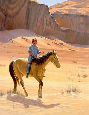 Navajo Painting - The Horseman by Paul Krapf