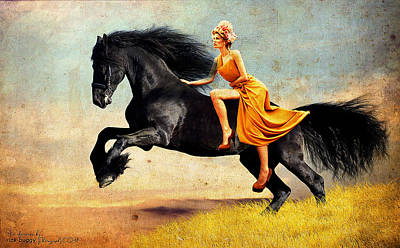 The Horsewoman Art Print by Rick Buggy