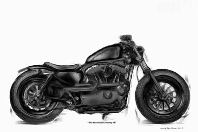Painting - The Hot Harley 48 by Wayne Bonney