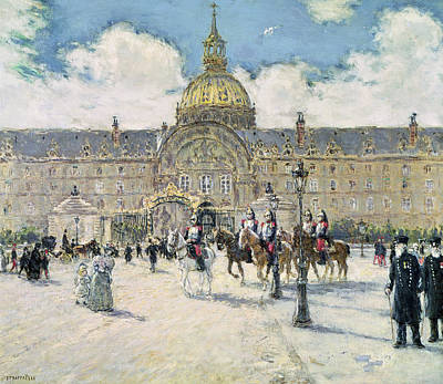 Crowd Scene Painting - The Hotel Des Invalides by Jean Francois Raffaelli