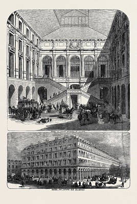Louvre Drawing - The Hotel Du Louvre Hotel Du Louvre, Rue De Rivoli by English School