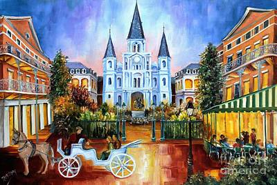 Carriage Painting - The Hours On Jackson Square by Diane Millsap