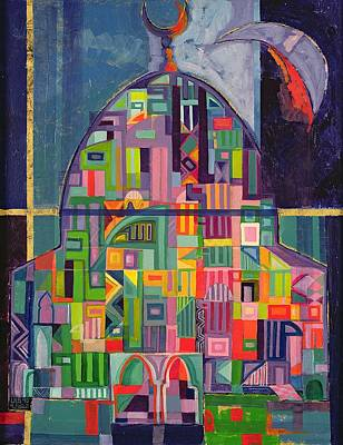 Spiritual. Geometric Photograph - The House Of God, 1993-94 Acrylic & Gold Pigment On Canvas by Laila Shawa