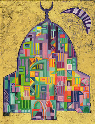 Spiritual. Geometric Photograph - The House Of God II, 1993-94 Acrylic On Canvas by Laila Shawa