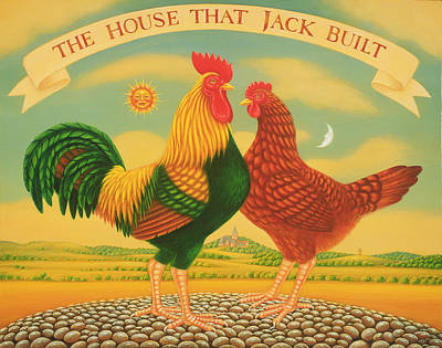 Rooster And Hen Painting - The House That Jack Built by Frances Broomfield