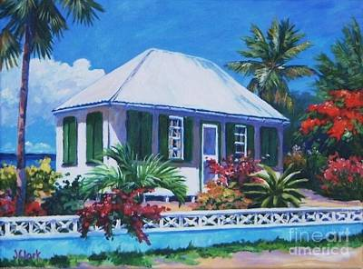 Caribbean House Painting - The House With Green Shutters by John Clark