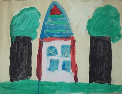 The House With No Door-age 5 Art Print by MIchael Kelly