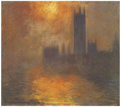 The Houses Of Parliament Sunset Art Print by Claude Monet