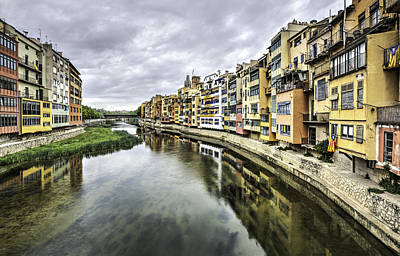 Hdr Photograph - The Houses On The River Onyar In Catalonia by Marc Garrido