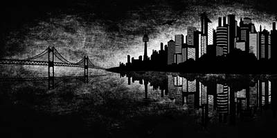 City Mixed Media - The Hubris Of Mankind Bw by Angelina Vick