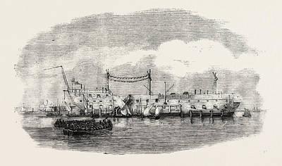 Hulk Drawing - The Hulk Blake At Spithead 1854 by English School