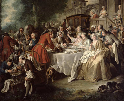 The Hunt Lunch, Detail Of The Diners Art Print by Jean Francois de Troy