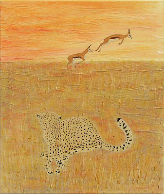 Cheetah Mixed Media - The Hunt by Stephanie Grant