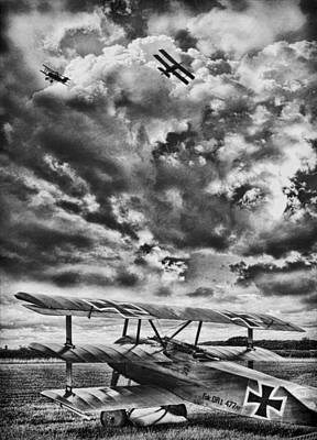 Ww1 Digital Art - The Hunter Bw by Peter Chilelli